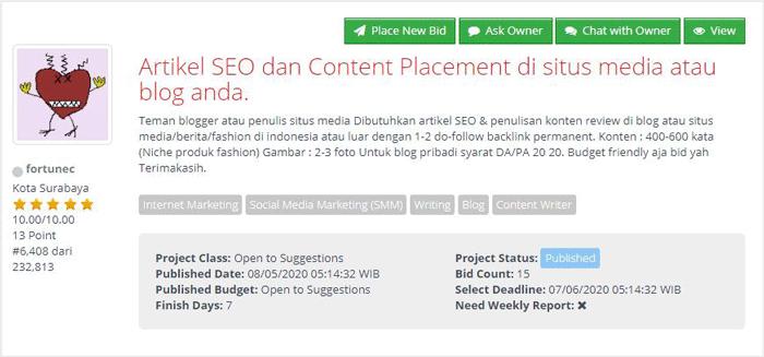 Cari job content placement di salah satu situs freelancer terbaik di indonesia